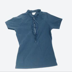 TORY BURCH NAVY BLUE SHORT-SLEEVE SWIM TOP